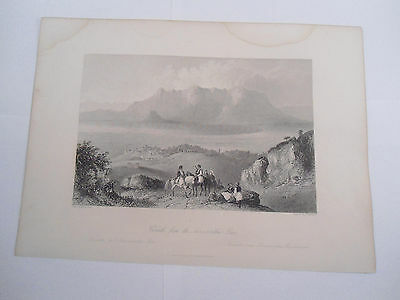 Corinth Greece ETCHING RELIGIOUS PICTURE  Original Engraved Fisher Son London