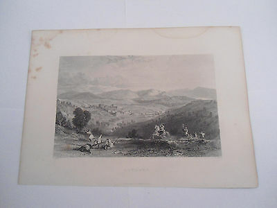 BETHANY ETCHING RELIGIOUS PICTURE Jerusalem Original Engraved Fisher Son London