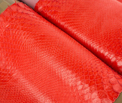 ITALIAN PYTHON RETICULATUS Leather Hide Skin, Skins Hides RED CORAL