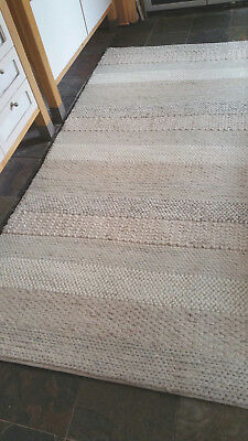Woven Striped Design 100 Heavy Wool Rug Quality 160x230cm Ivory Grey Textures