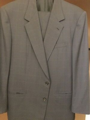 Mens BRIONI Elice Navy Windowpane Suit Sz 48L