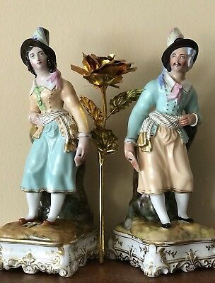 Antique French Old Paris, Jacob Petit Pair Of Porcelain Figurine Spill VasesRare