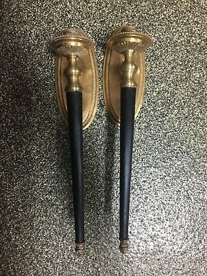 Vintage Antique French Empire Style Torchier Candelabra Wall Sconces Pair Brass