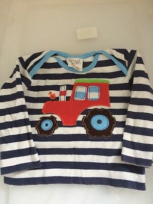 Boys Frugi Organic Striped Tractor Top 6-12 Months