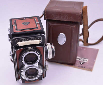 Rolleiflex T Model 1, 6x6 Cmera, W/ Tessar f3.5/75mm Case and Manual