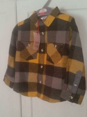 BNWT MINI CLUB Baby Boy Checked Long Sleeve Shirt 100 % Cotton- 1 1/2- 2 years