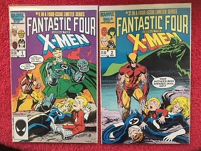 LOT (4) FANTASTIC FOUR VS. THE X-MEN MINISERIES SET ISSUE #s 1 2 3 4 (C) 1987