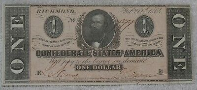 February 17th, 1864 Confederate $1 One Dollar Note