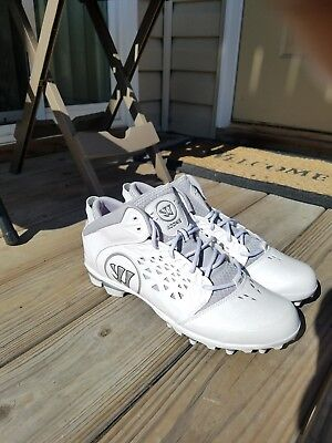 NEW Warrior Adonis Men's Lacrosse Cleats White Gray Adoniswt Size 13