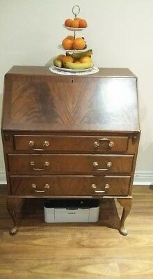 Antique bureau (walnut) with integrated leather padded writing desk