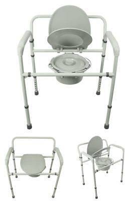 Extra Wide Bedside Toilet Steel Commode Bariatric Portable Folding Adult Potty
