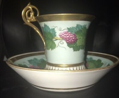 Important Museum Quality Schlaggenwald Bohemia Chocolate Cup & Saucer 1847-1867
