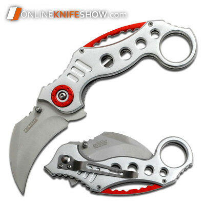 "8"" SILVER KARAMBIT SPRING ASSISTED FOLDING TACTICAL POCKET KNIFE Open Assist EDC"