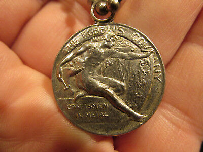 Very Interesting Compliments Of The Robbins Company Attleboro MA Keychain Medal