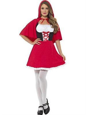 Red Riding Hood Costume, Red, with Short Dress & Cape -  (Size: UK .. COST-W NEW