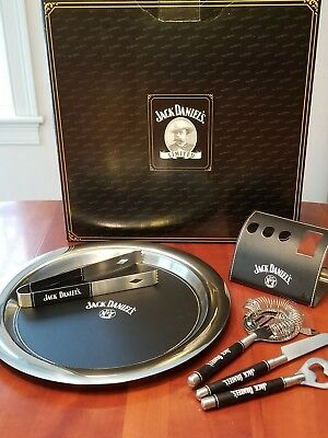 """JACK DANIEL'S 6 Piece BAR TOOL SET Old No.7 Includes 12"""" Tray & accessories"""