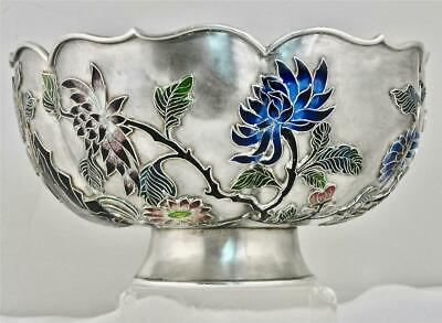 Chinese Export Silver & Cloisonne Enameled Bowl