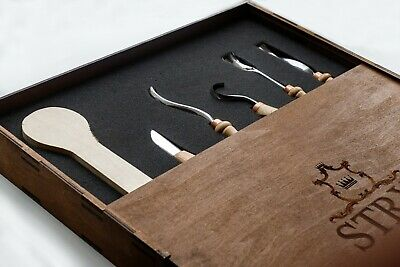 Spoon carving tools set STRYI, wooden spoon cutting knives kit, hand forged tool