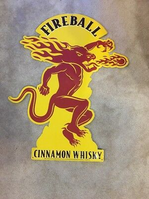 EXTRA LARGE FIREBALL CINNAMON WHISKY HUGE METAL 36x27 TIN SIGN MAN CAVE
