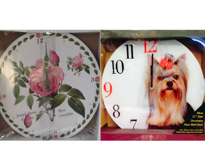 Rose Chintz Flower Floral & Dog Yorkshire Terrier Yorkie Picture Wall Clocks