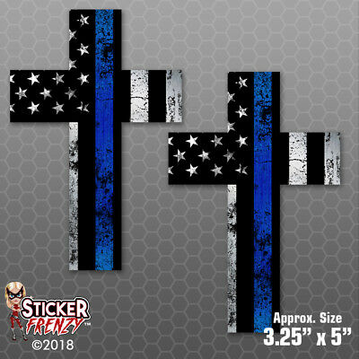 "2-3/"" x 2/"" Thin Blue Line Ribbon Decal SET Police Car Officer Memorial Sticker"