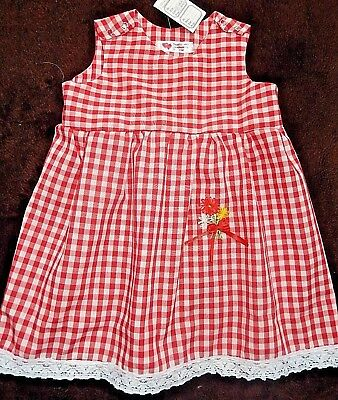 'CARIAD a CWTCH' red gingham dress (1) with floral embroidery for 6 months old