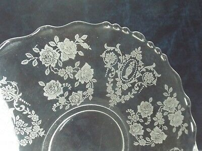 """6"""" Vintage Clear Glass Etched Flowers Saucer Dish Plate-  Fostoria???"""