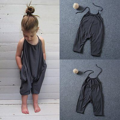 Toddler Kid Baby Girl Summer Strap Romper Jumpsuit Bodysuit Clothes Outfits Cute