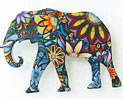 Elephant Walking Large Multicolor Floral Acrylic Pin Brooch Jewelry