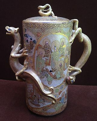 AUTHENTIC, Signed Meiji Period Satsuma Teapot with Dragons or Lizards