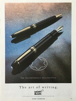 1988 MONT BLANC Luxury PENS The Art of Writing  Vintage PRINT AD
