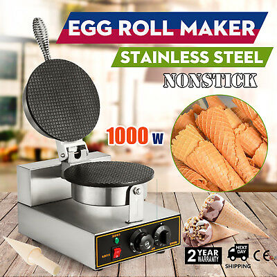 Electric Ice Cream Waffle Cone Egg Roll Maker Stainless 1000w Nonstick PROMOTION