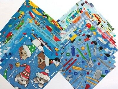 20 BLUE Novelty Cotton Quilt Patchwork Fabric Squares I SPY MULTI-COLORED PACK B