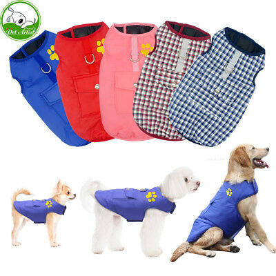 Plaid Winter Dog Coats Warm Waterproof Dog Clothes For Small Medium Large  Dogs