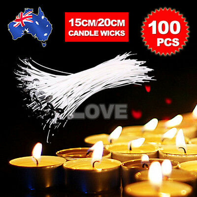100pcs Candle Wicks Low Smoke Pre Waxed Wick with Tabs Sustainers Cotton Core AU