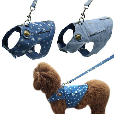 Denim Dog Harness and Leash Jeans Pet Vest Jacket For Small Puppy Dogs S M L