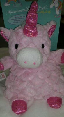Girls Pink Microwavable Fluffy Unicorn Heat Soothing Soft