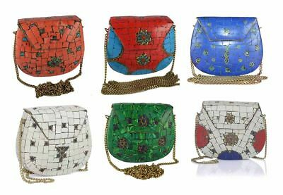 Red,Blue,Color Indian Metal Clutch Inlaid Stone Pouch Ethnic Purse Diwali Deal