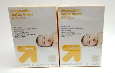 Up & Up Disposable Baby Bottle Liners 100 ct. liners (2-50 ct. boxes), BPA FREE