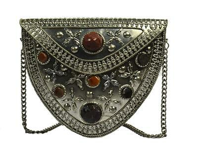 silver oxidized handmade vintage clutch purse