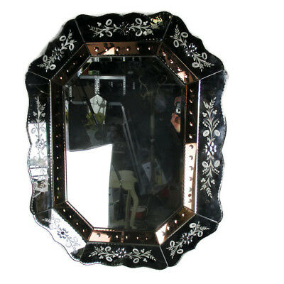 Large Antique French Engraved Cut Crystal Mirror Ornate Magnificent Art Deco WOW