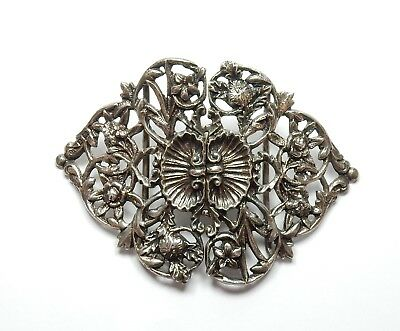 Antique Late Victorian B'Ham 1900 Sterling Silver Double Belt Buckle Heavy 43g