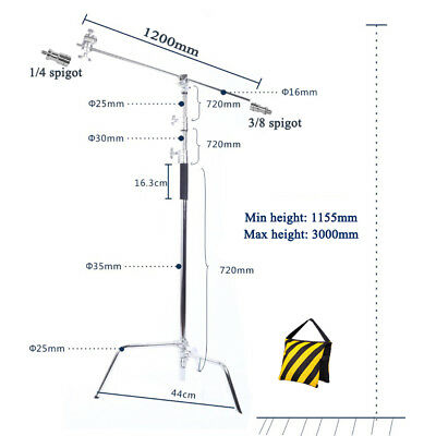 "Super Heavy Duty Double Riser Detachable Turtle Base C-Stand  50"" Boom Arm STAND"
