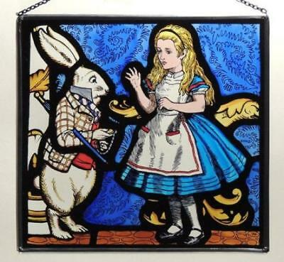 Decorative Hand Painted Stained Glass Rectangular Panel in an Alice and...