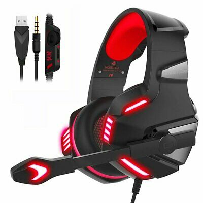 3.5mm Gaming Headset MIC Red LED Stereo Surround for PC PS4 Slim Xbox one X S