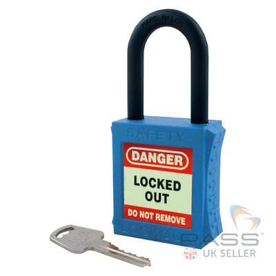 Lockout Fully Insulated Padlock with NYLON Shackle - Key Different (Blue)