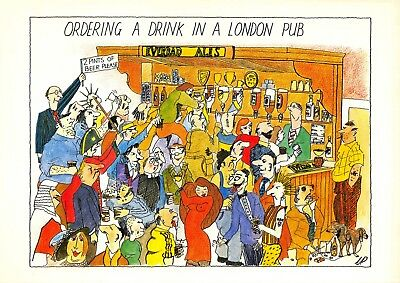 Postcard Comic Fun Funny, Ordering a Drink in a London Pub NEW