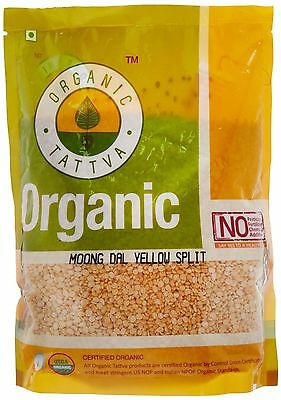 Organic Tattva Yellow Split Lentils Mung Beans (Moong Dal) 1kg USDA Certified
