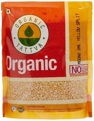 Organic Tattva Yellow Split Lentils Mung Beans Moong Dal 500g Certified By USDA