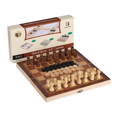 3-in-1 Folding Travel Chess & Checkers Backgammon Wooden Set by Joview for...